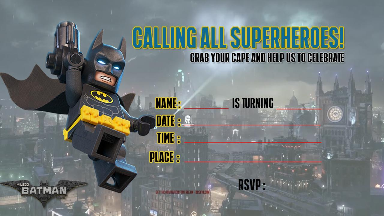 Batman Invitations Templates