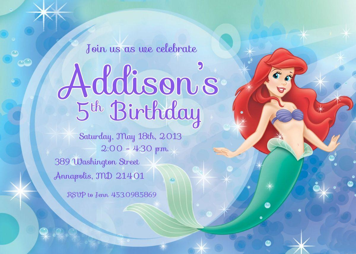 Free Little Mermaid Invitation Templates