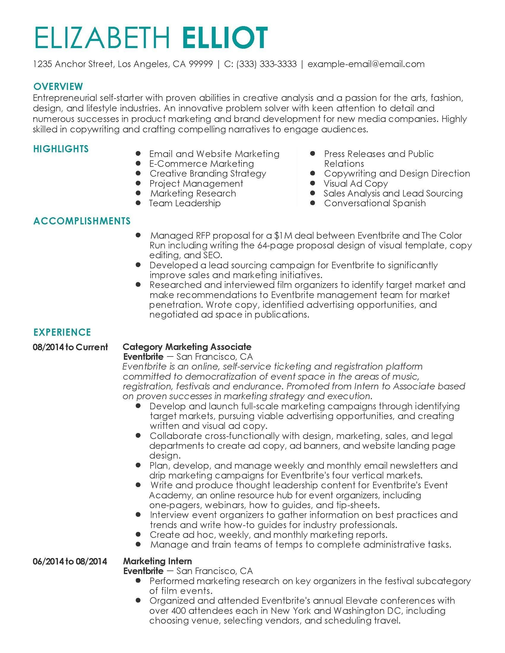 Free Marketing Resume Examples
