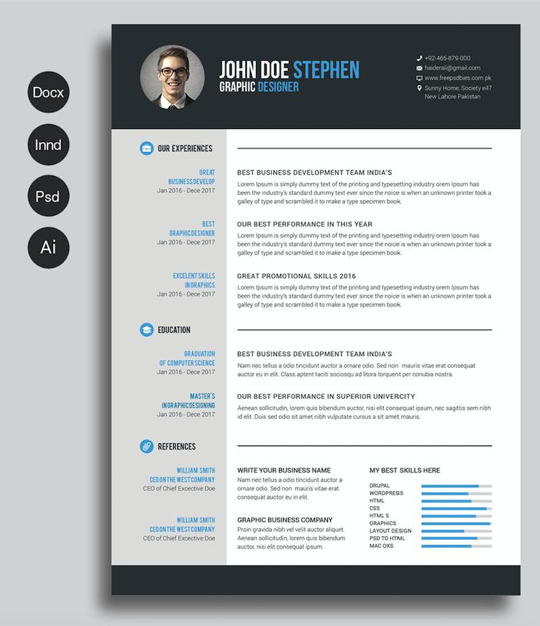 Free Microsoft Word Resume Templates 2018