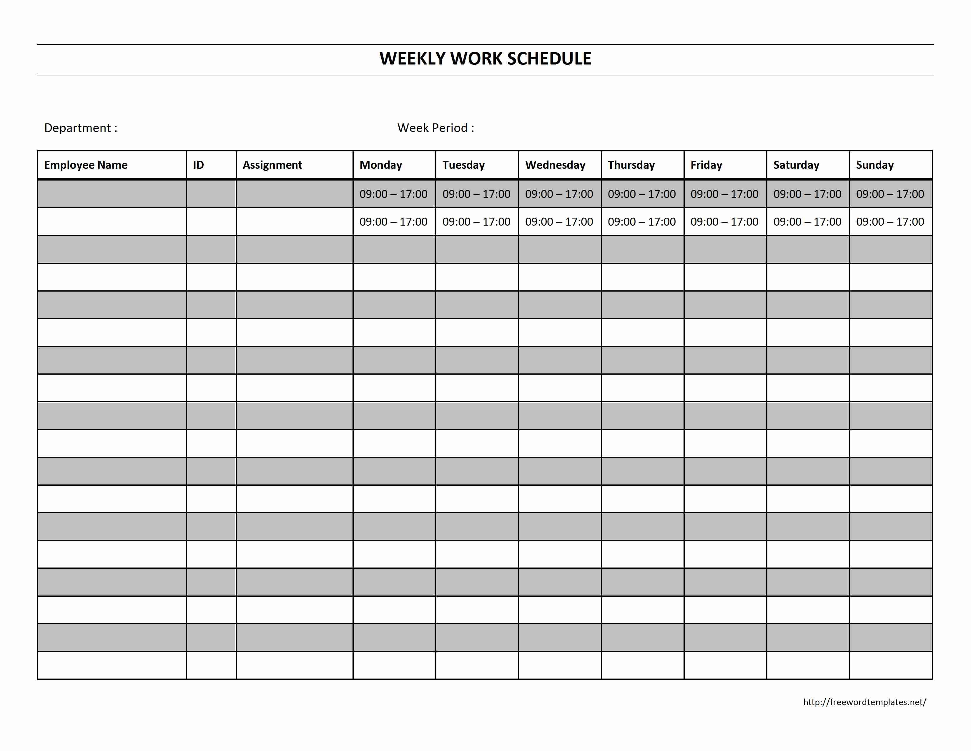 Free Monthly Employee Work Schedule Template