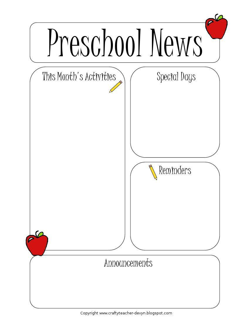 Free Newsletter Templates For Preschool