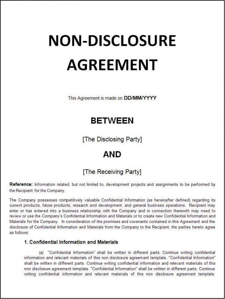 Free Non Disclosure Agreement Sample