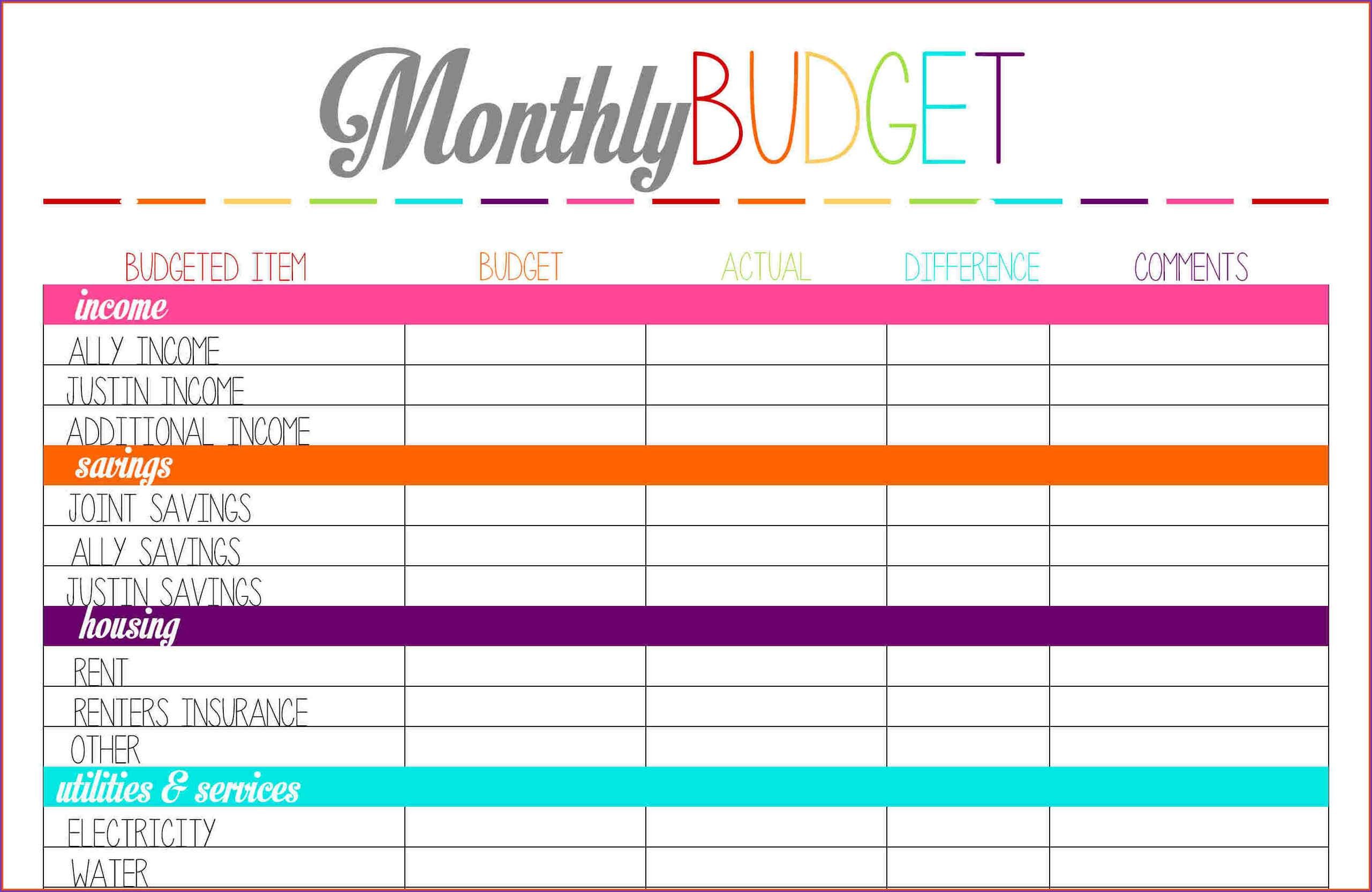 Free Personal Monthly Budget Templates