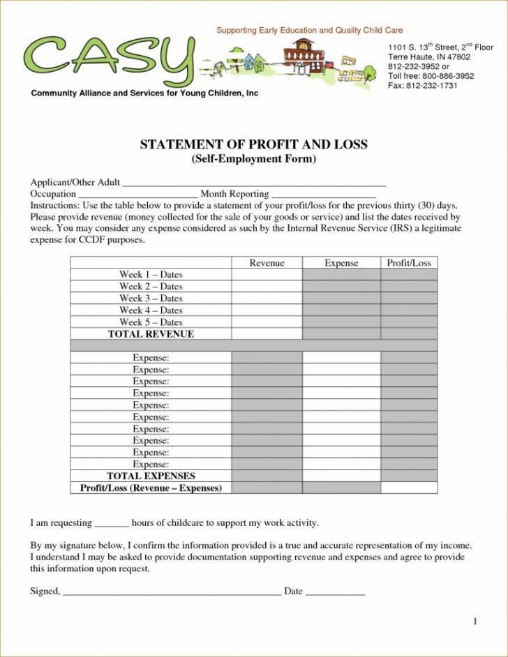 Free Personal Profit And Loss Statement Template
