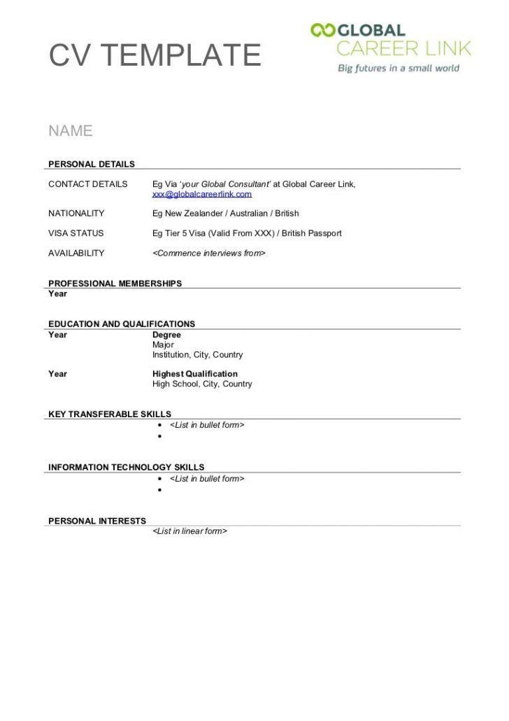 Free Printable Cv Templates