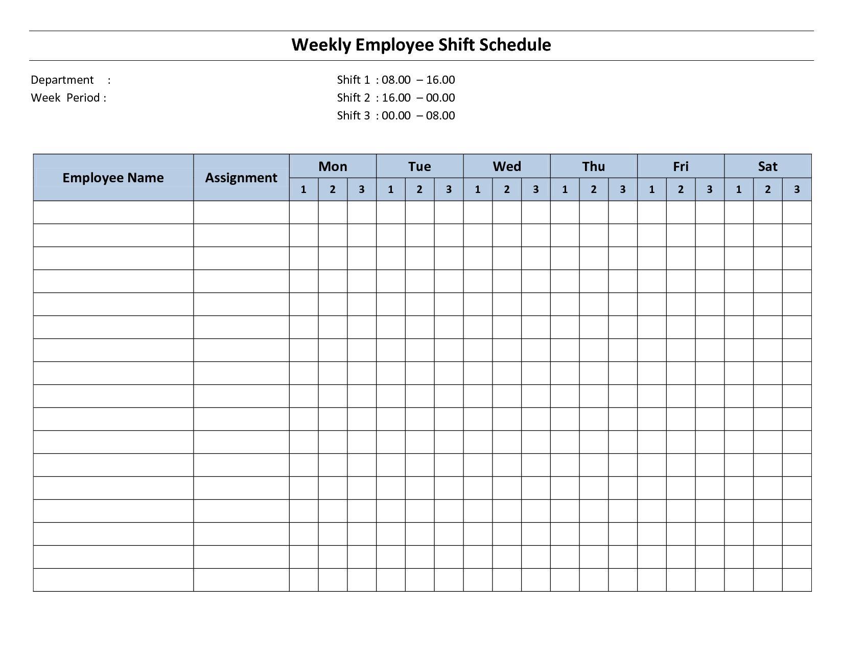 Free Printable Employee Work Schedule Template