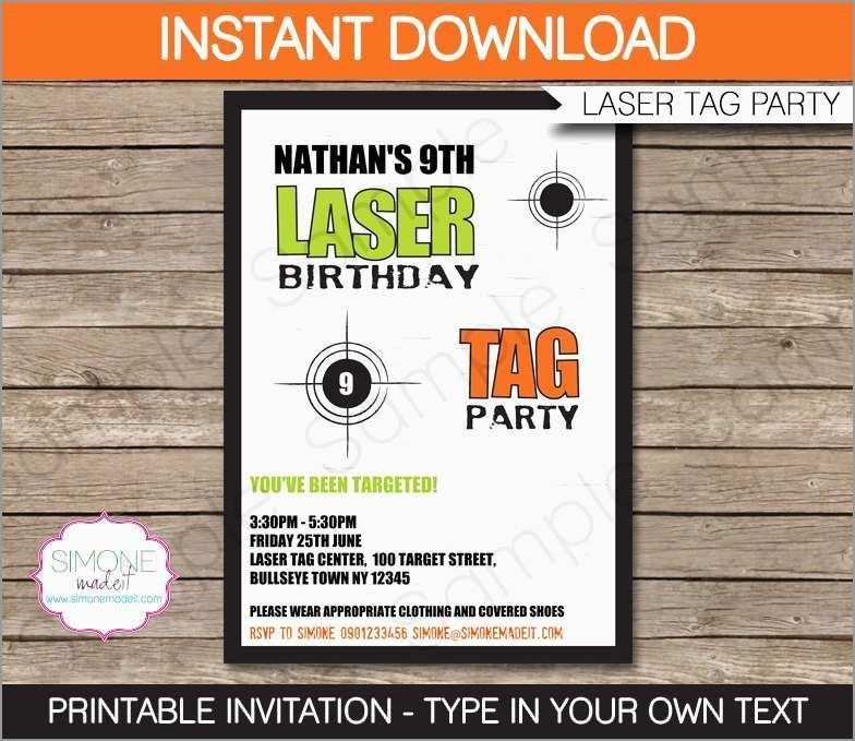 image relating to Laser Tag Birthday Invitations Free Printable referred to as Cost-free Printable Laser Tag Invitation Template - Templates
