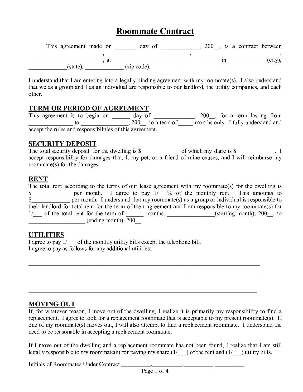Free Printable Roommate Agreement Template