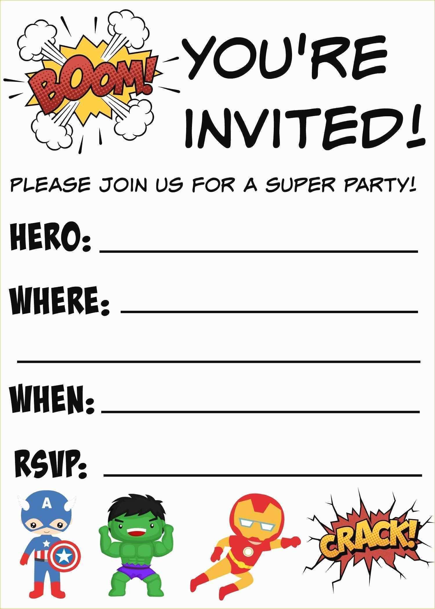 Free Printable Superhero Invitation Templates
