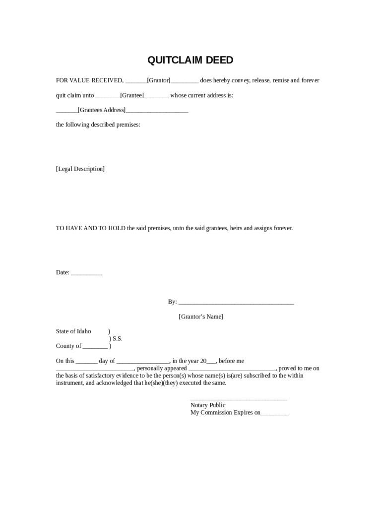 Free Quit Claim Deed Form Indiana
