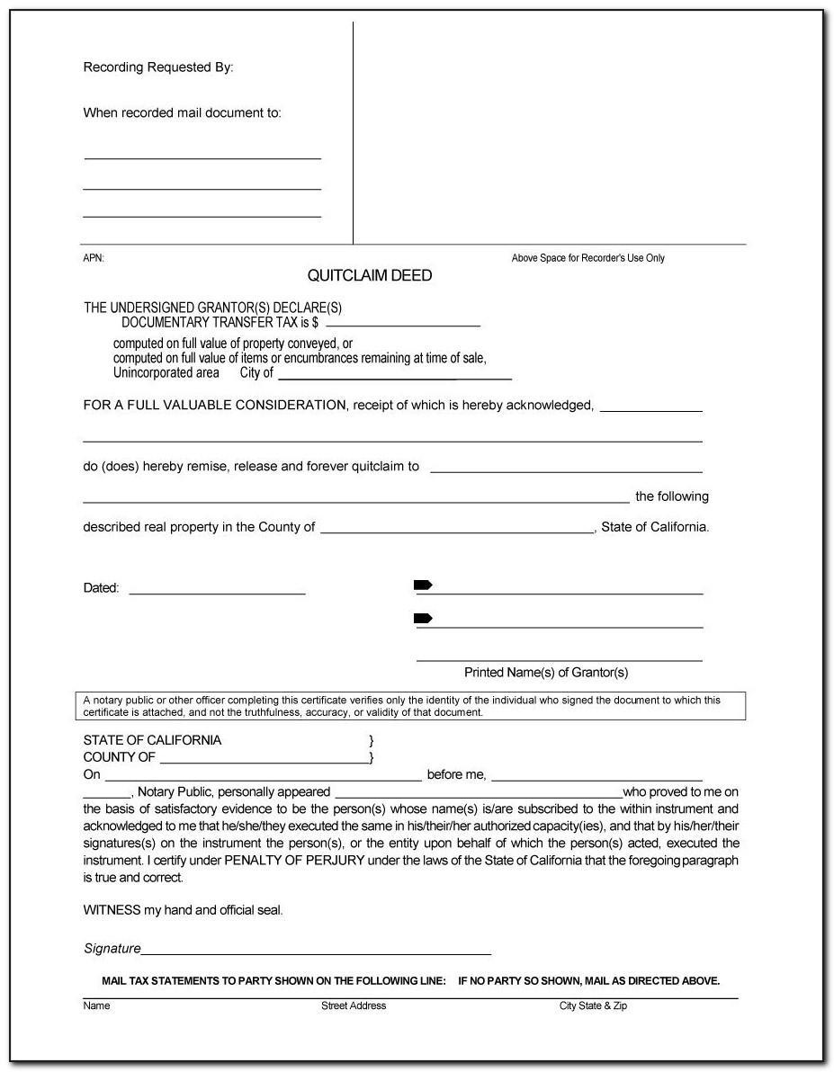 Free Quit Claim Deed Form Michigan