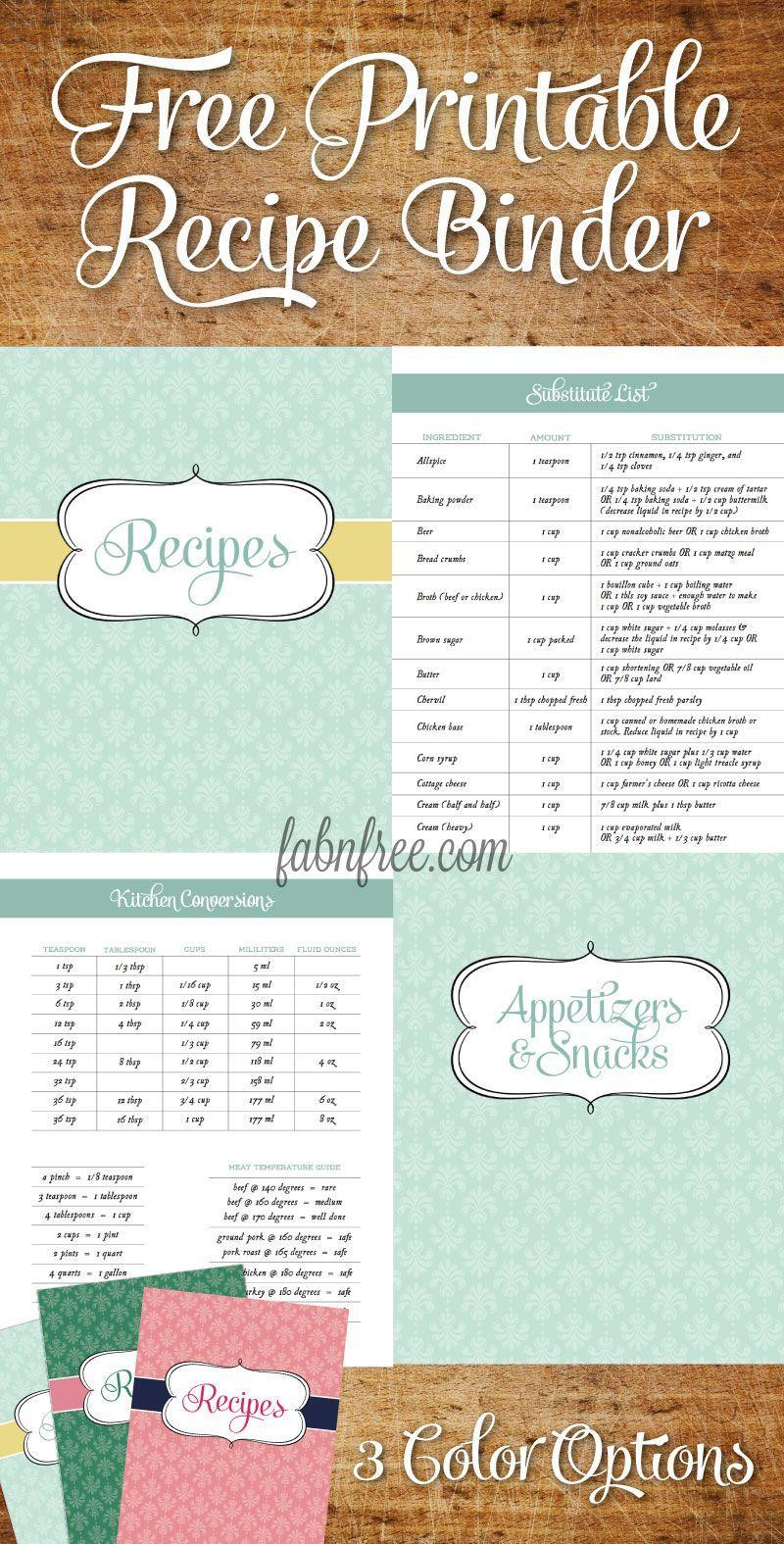 Free Recipe Book Templates