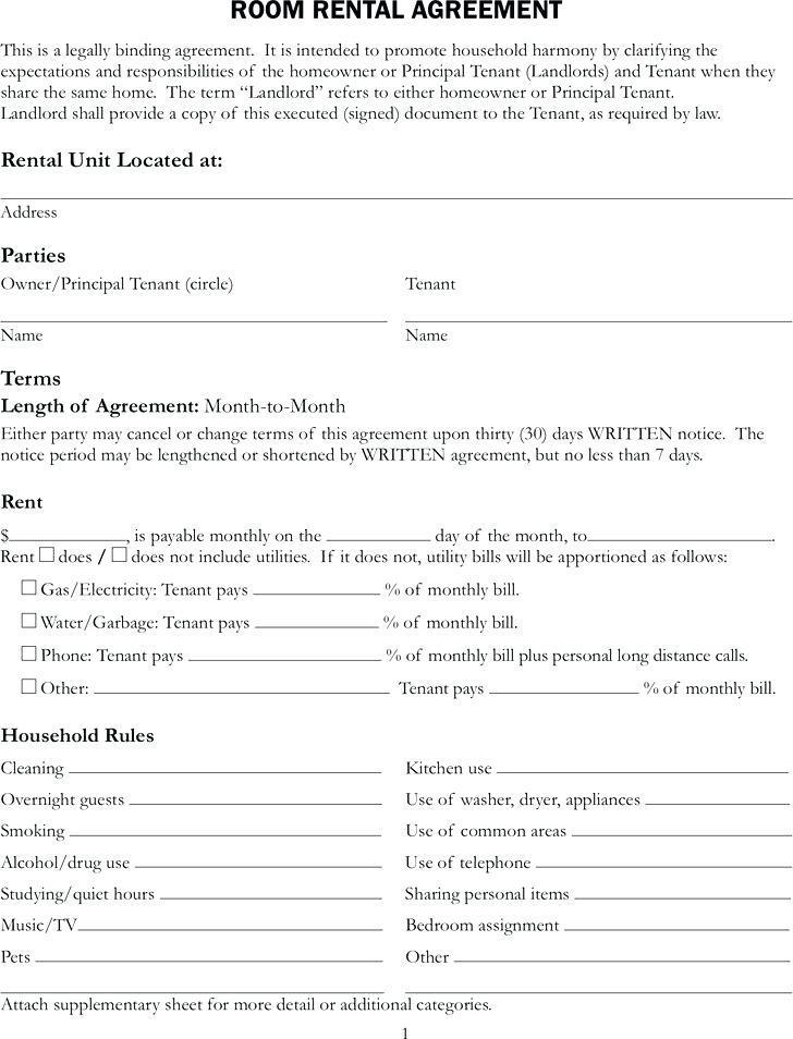 Free Rental Agreement Template Word Uk