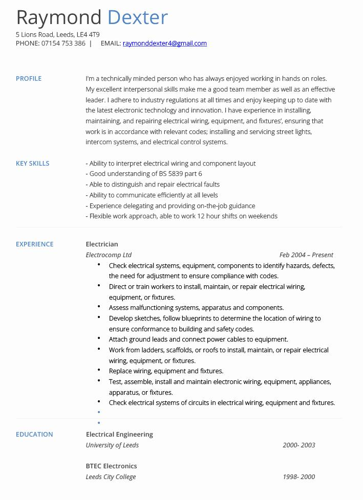 Free Resume Template For Electrician