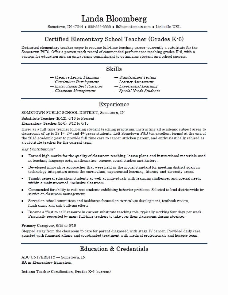 Free Resume Template For Elementary School Teacher