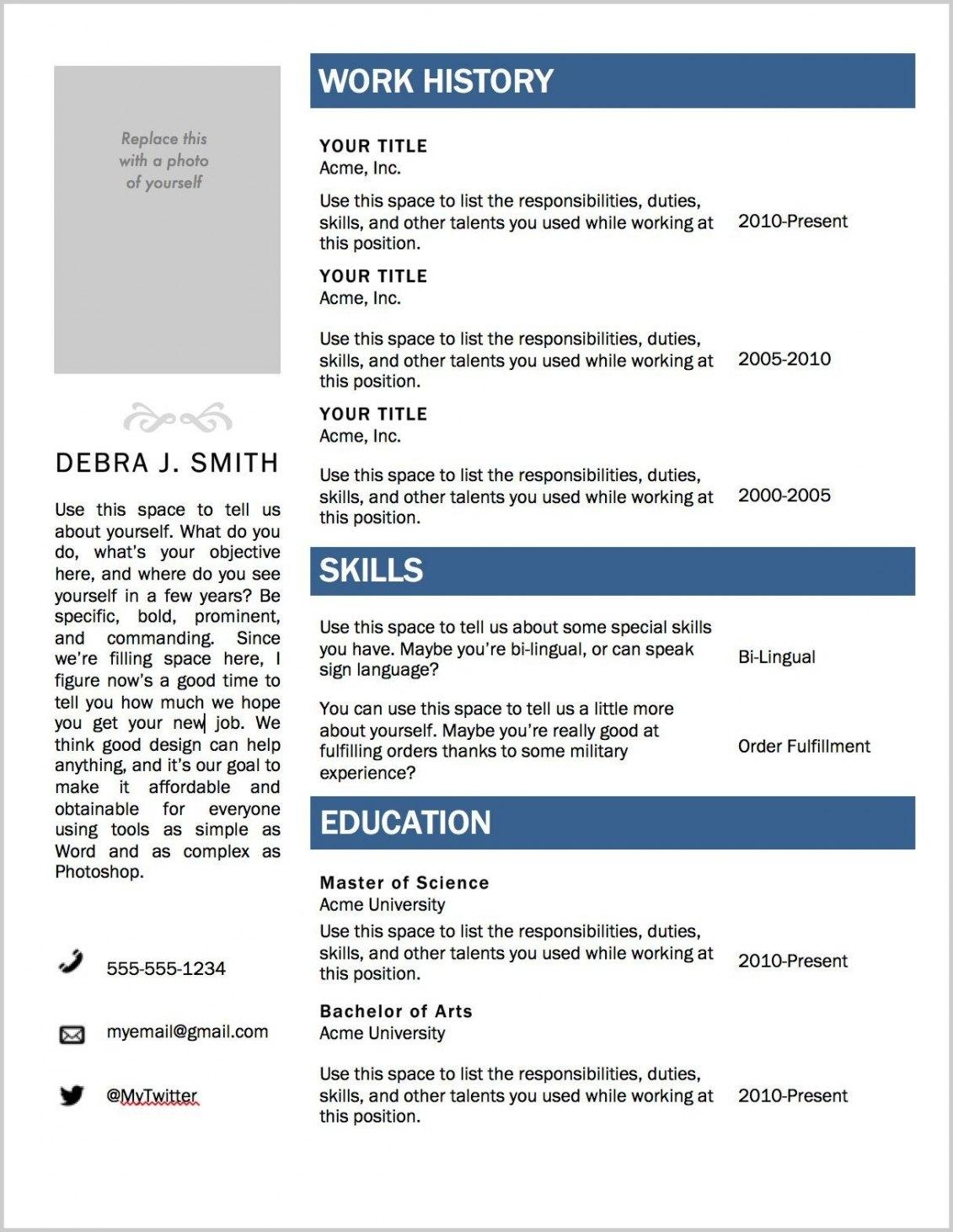 Free Resume Template Microsoft Word 2010