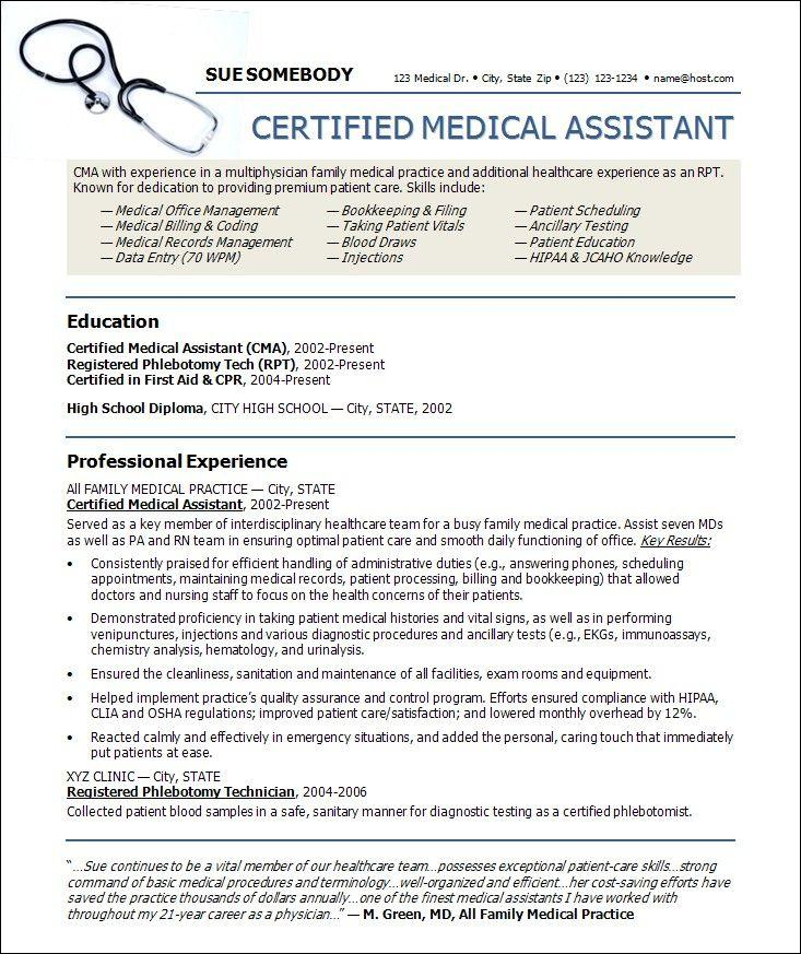 Free Medical Assistant Resume Templates Resumes 2088