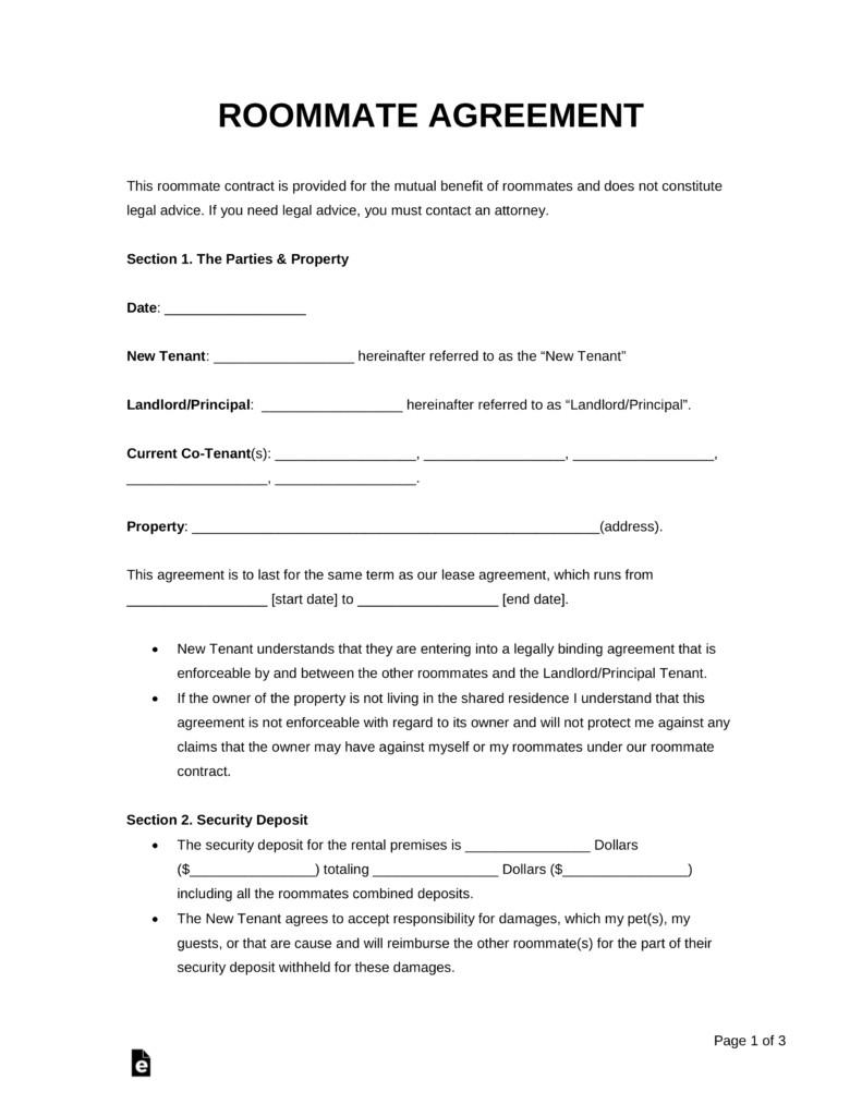 Free Roommate Lease Agreement Template