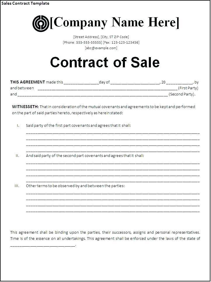 Free Sales Contract Template Word