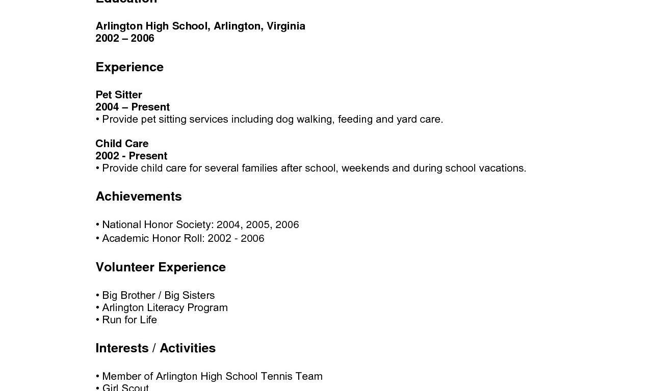 Free Sample Resume Templates For Highschool Students