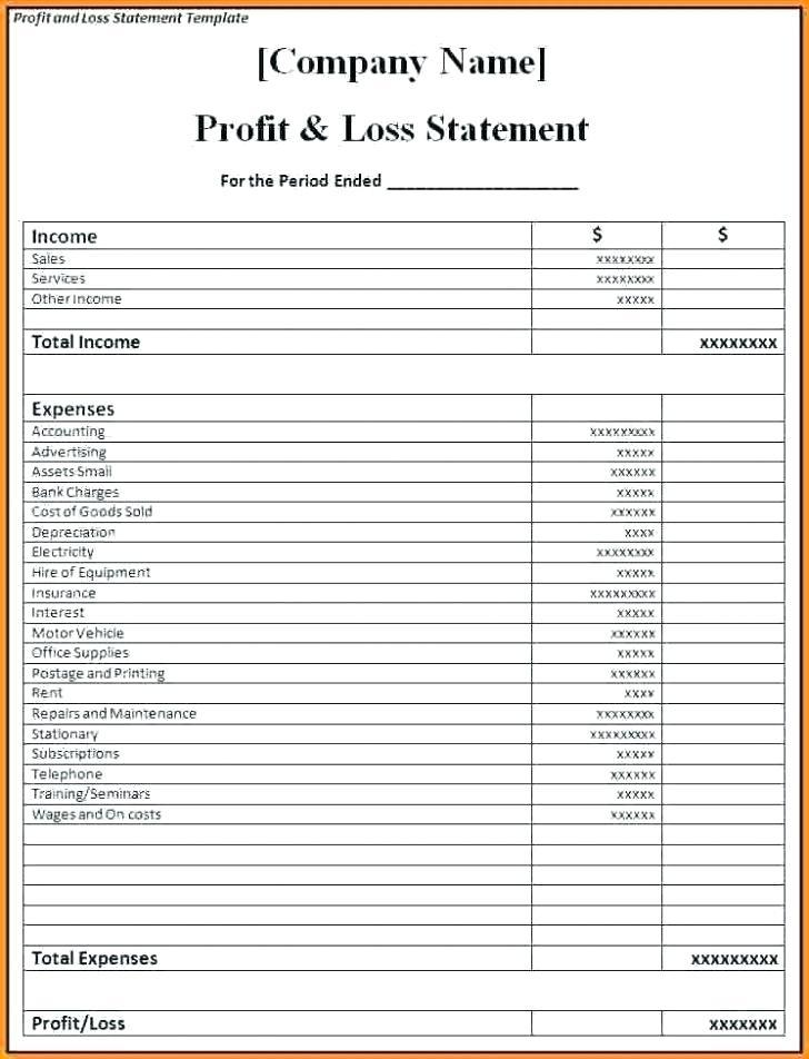 Free Self Employed Profit And Loss Statement Template