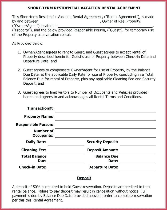 Short Term Vacation Rental Agreement Form Templates