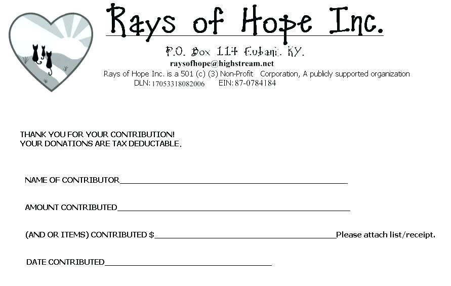 Free Tax Deductible Donation Receipt Template
