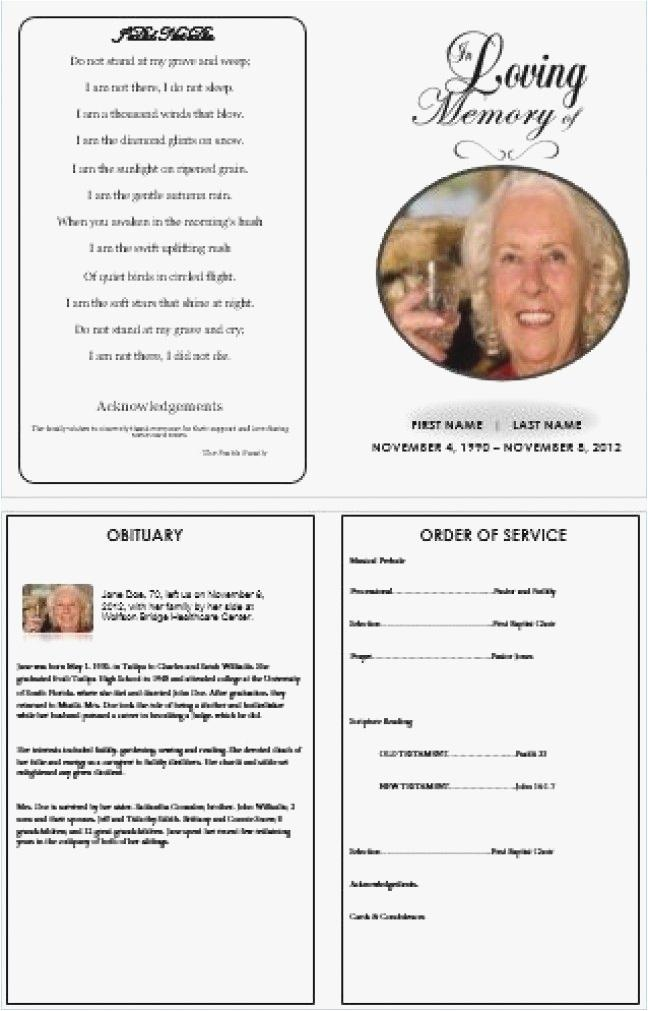 Free Template For Funeral Program On Word