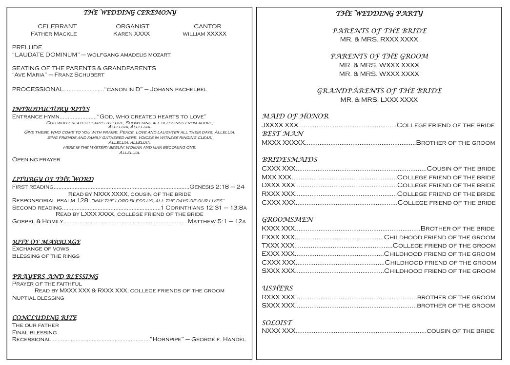 Free Template For Wedding Ceremony Program