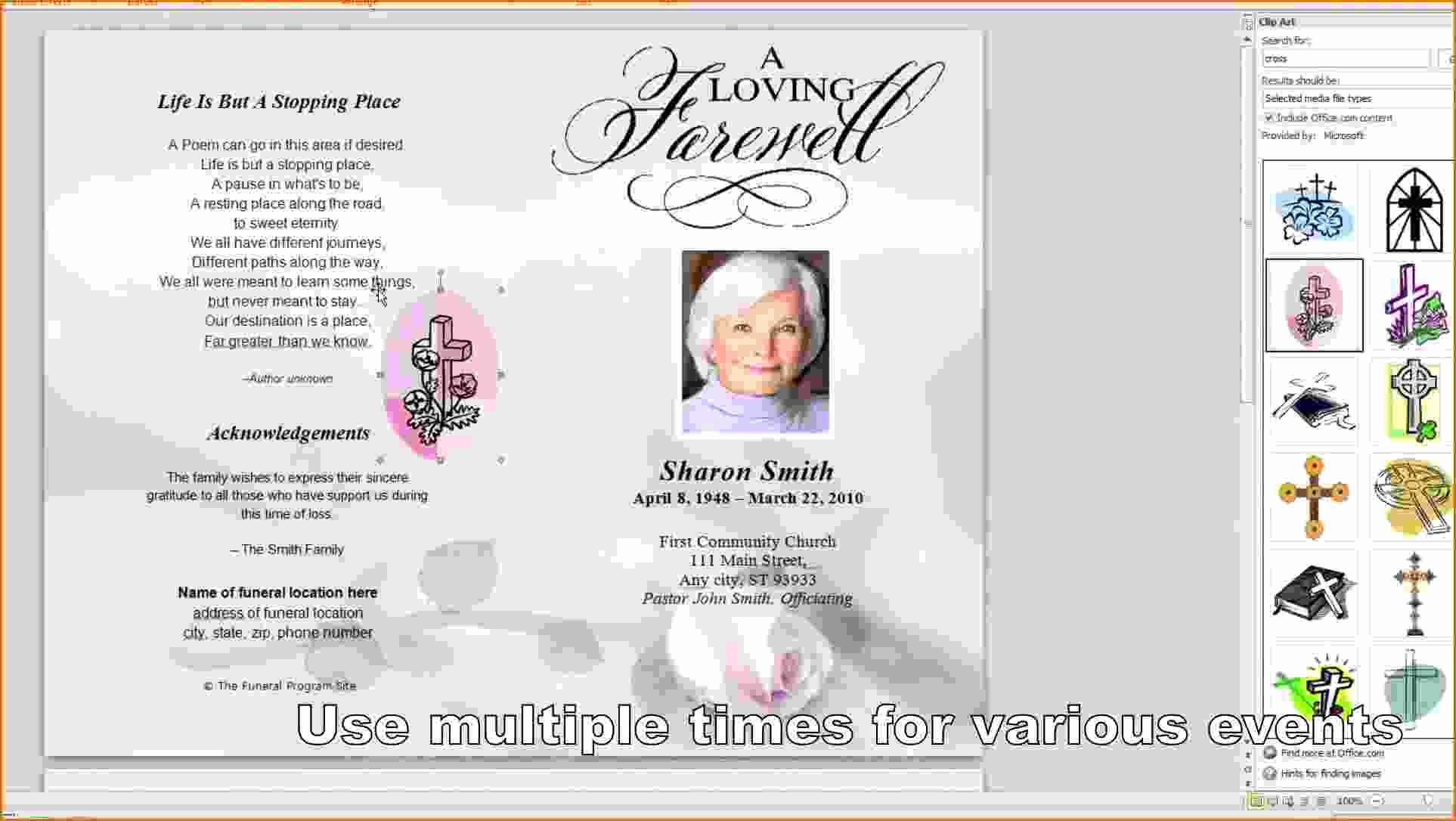 Free Template Funeral Obituary Programs