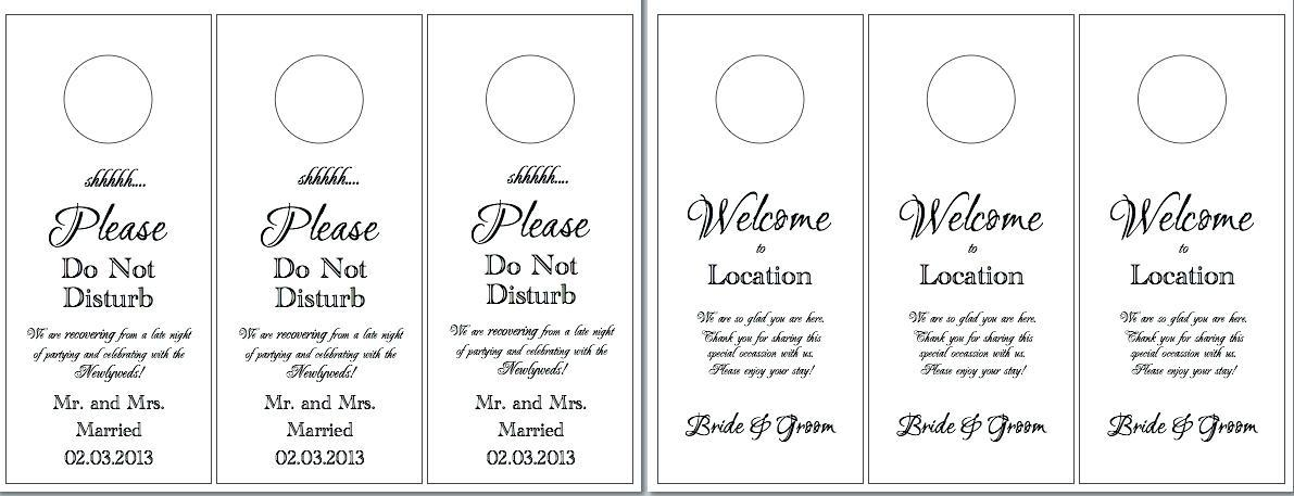 Free Wedding Door Hanger Template