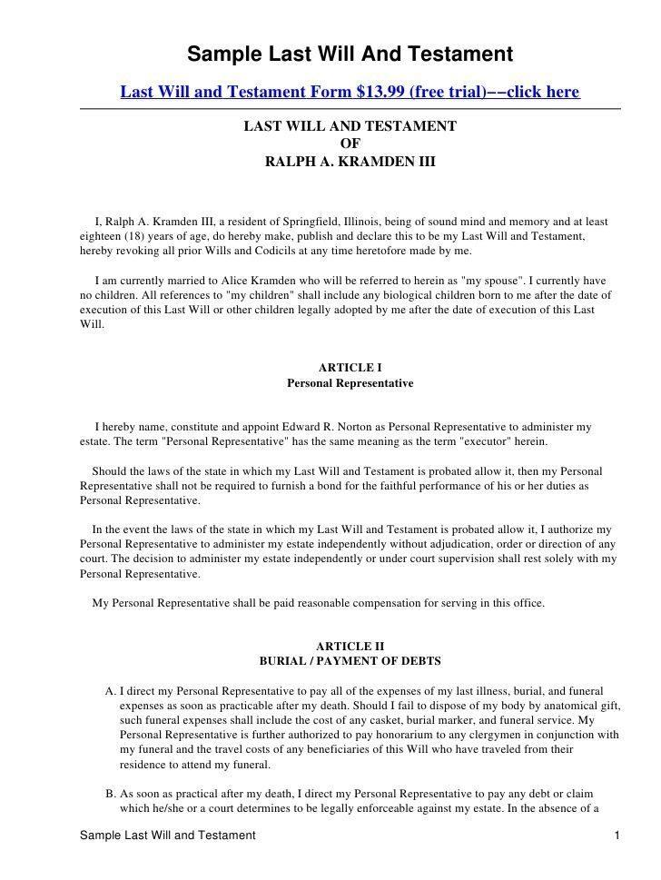 Free Will And Testament Template