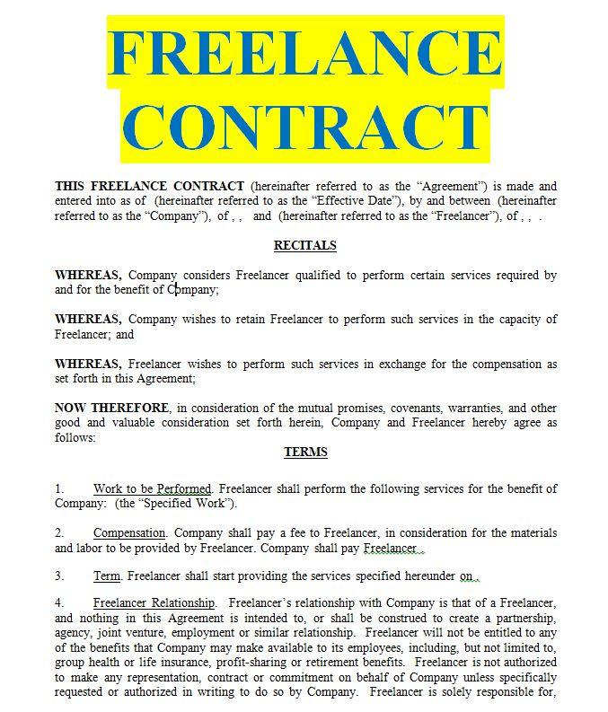 Freelance Contract Agreement Template