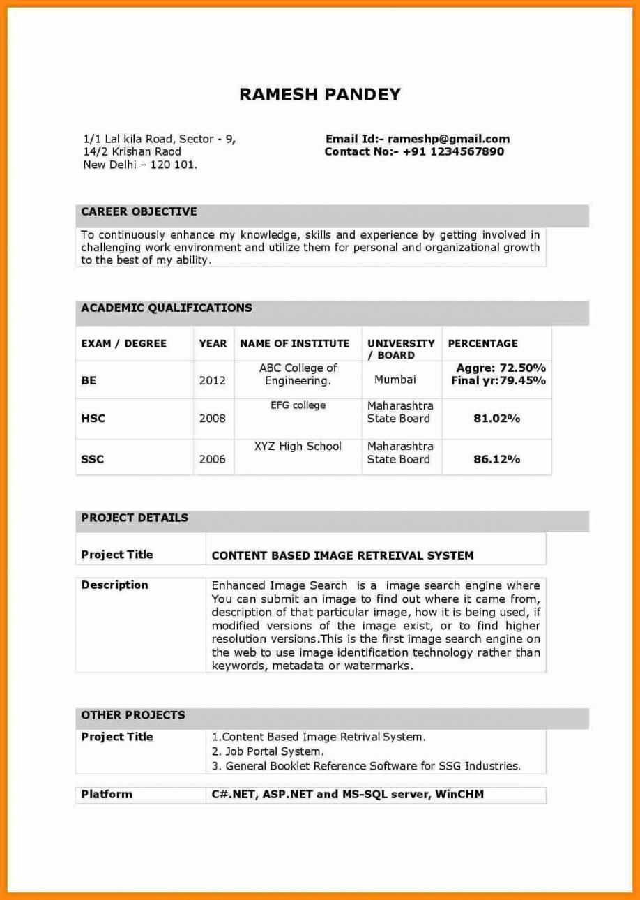 Fresher Resume Template India