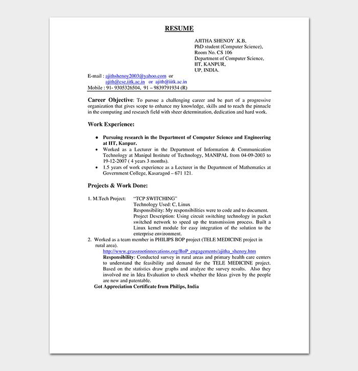 Fresher Resume Template Pdf