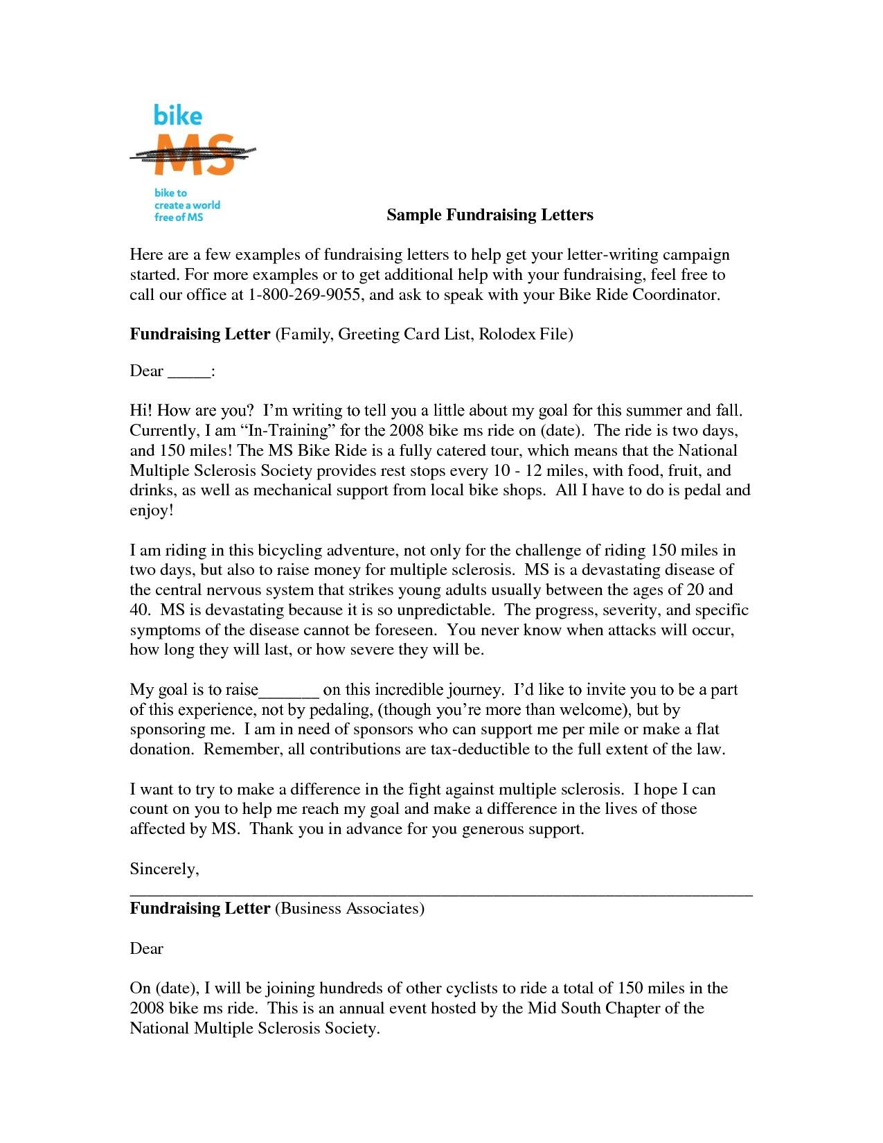 Fundraiser Donation Letter Template
