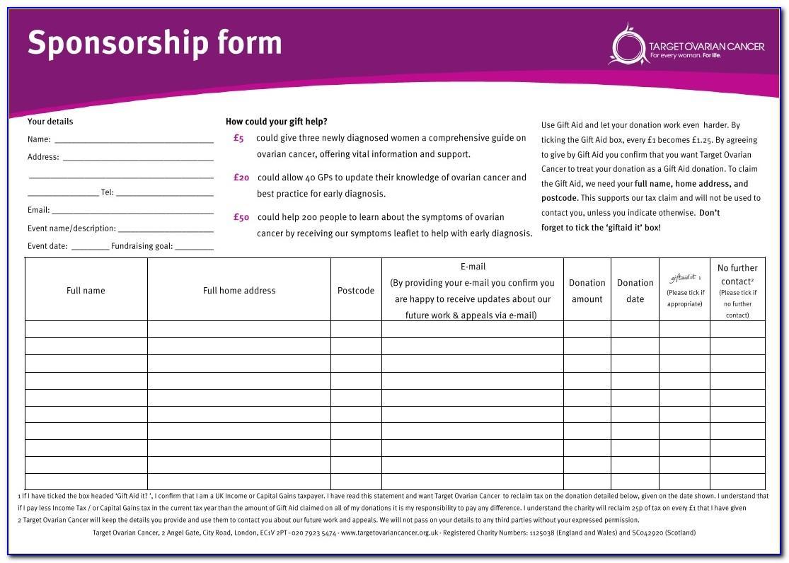 Fundraising Sponsor Form Template