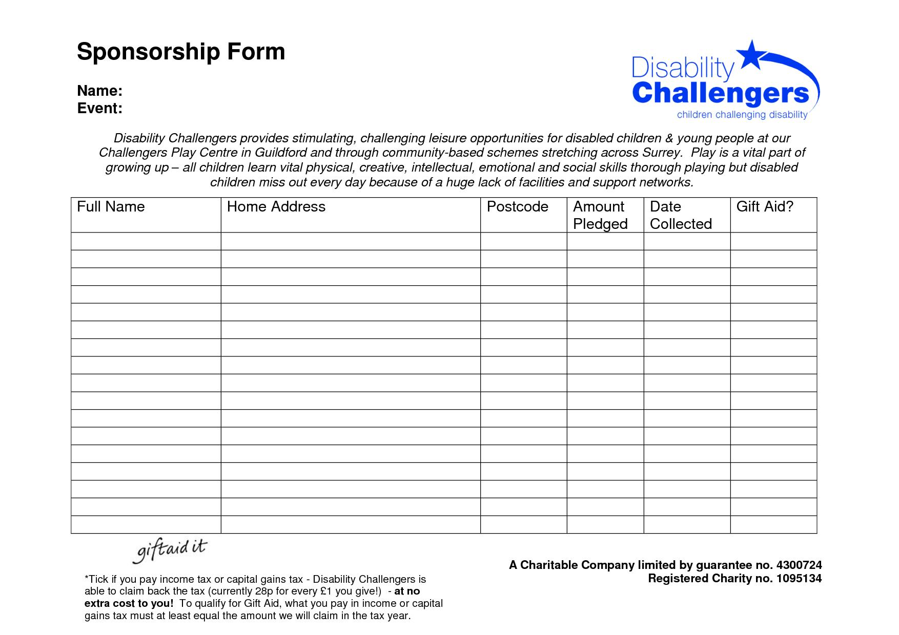 Fundraising Sponsorship Form Template