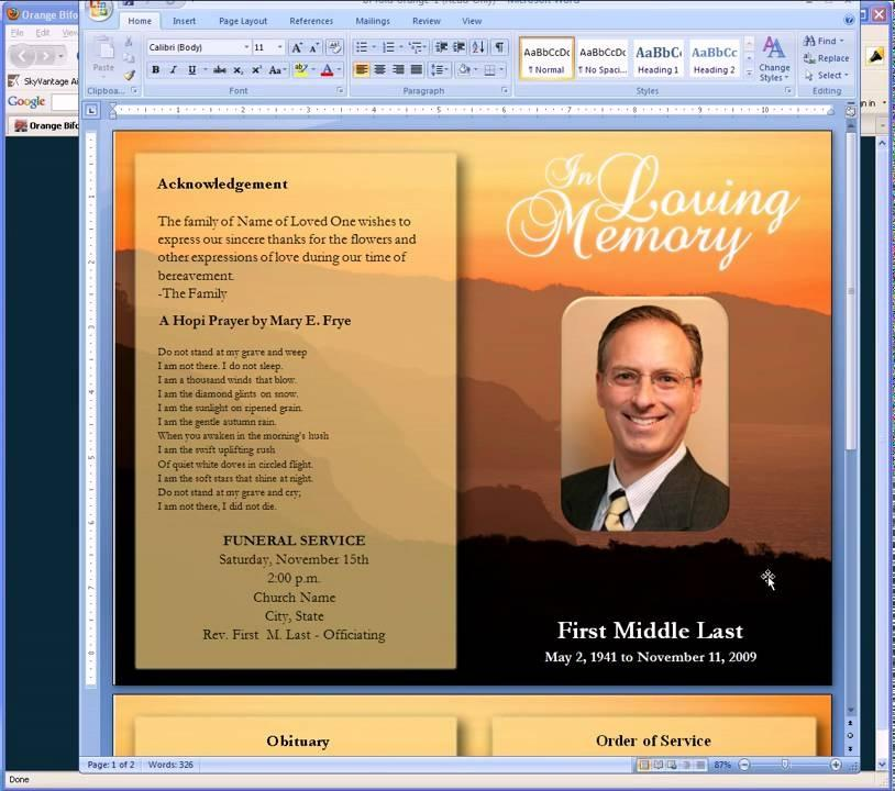 Funeral Program Templates Free Word