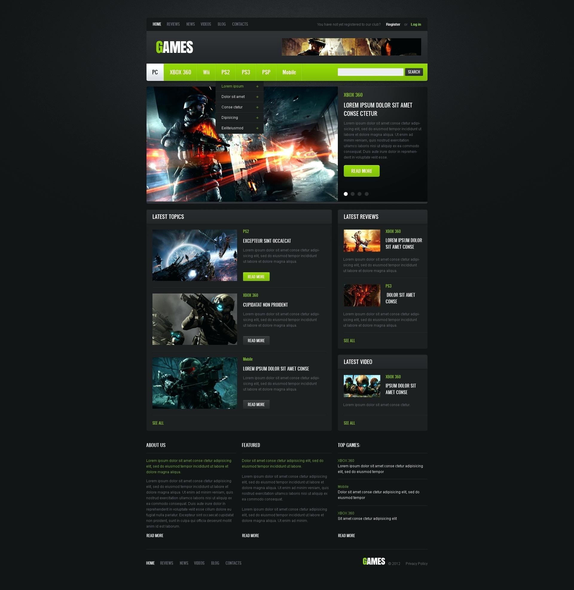 Gaming Websites Templates Free