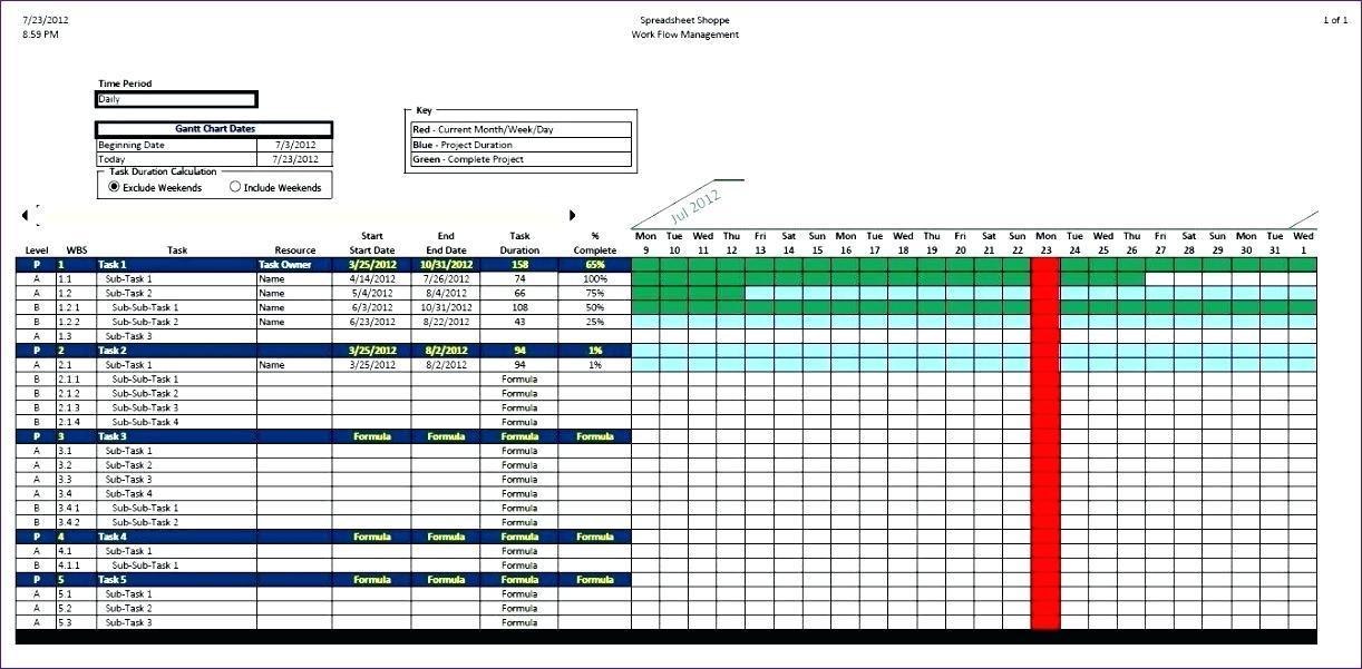 Gantt Chart Excel Template Simple