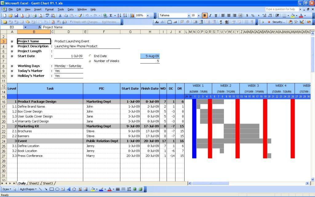 Gantt Chart Templates Excel 2010