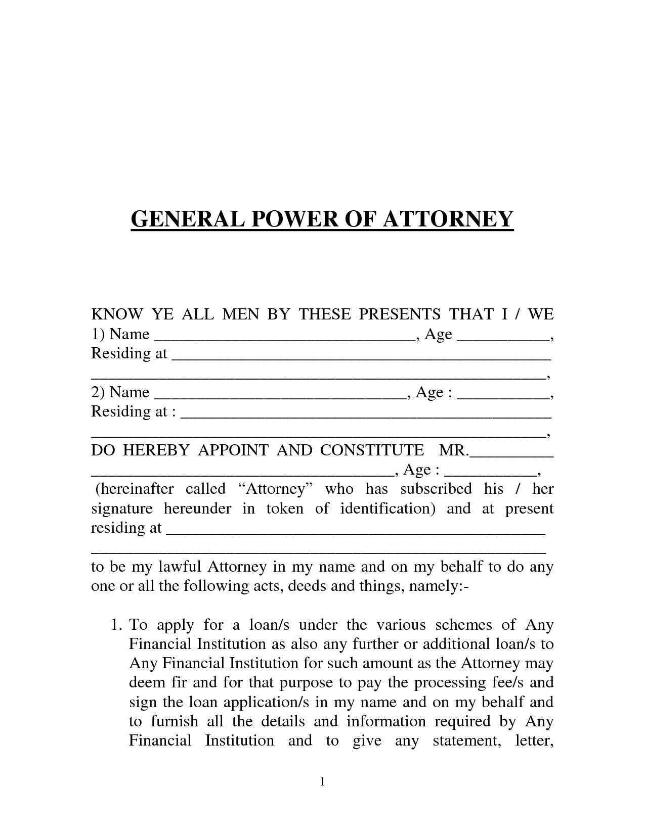 General Power Of Attorney Templates