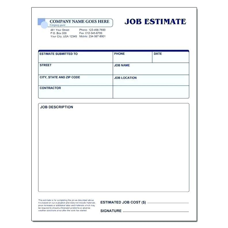 Good Faith Estimate Template Free Download