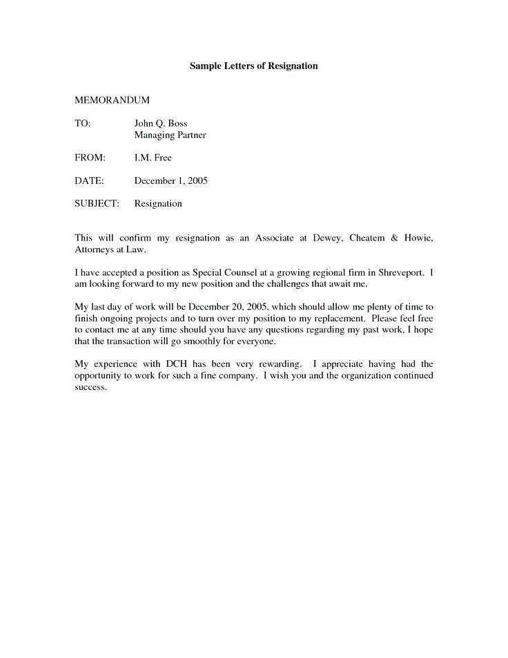 Good Resignation Letters Uk