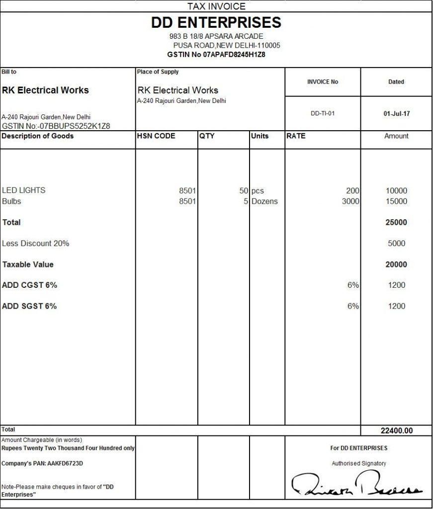 Gst Invoice Template Excel Download