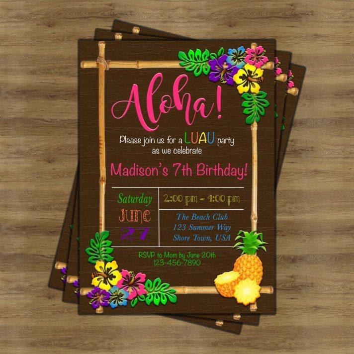 Hawaiian Themed Birthday Invitation Templates