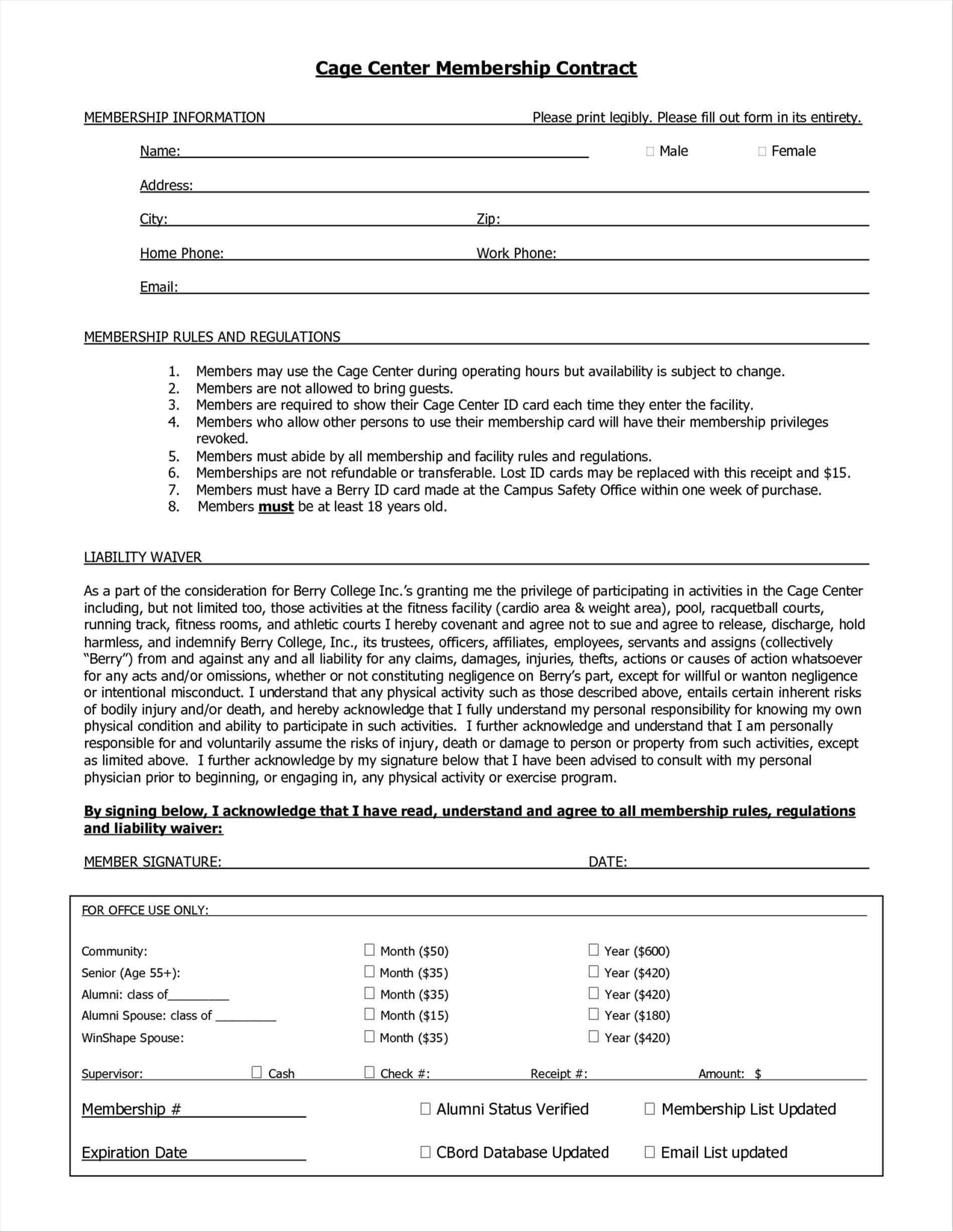 Health Club Contract Template
