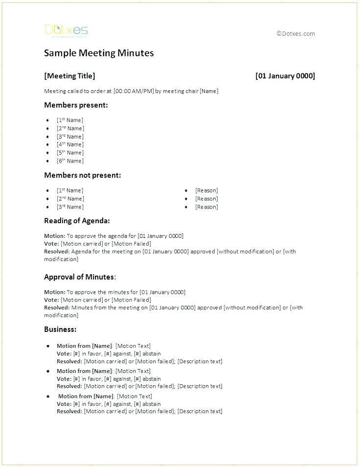 Hoa Board Meeting Minutes Format
